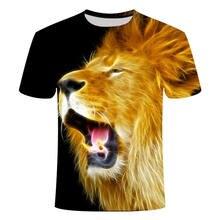 新しい3D男性と女性の夏のtシャツ、王とライオン3D tシャツ、デジタル印刷デザイン、半袖スウェットシャツ人気