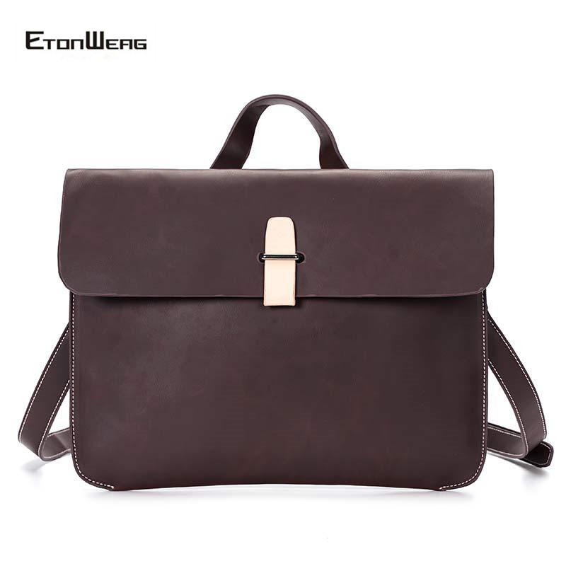 Men Business Office Briefcase Brand PU Leather Handbag Women Solid Brown File Tote Male Vintage Crossbody Bags Casual Ipad Bag