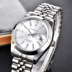 New Parnis 39.5mm White Dial Automatic Mechanical Men's Watches Stainless Steel Case Men Bracelet Watch with box jam tangan pria