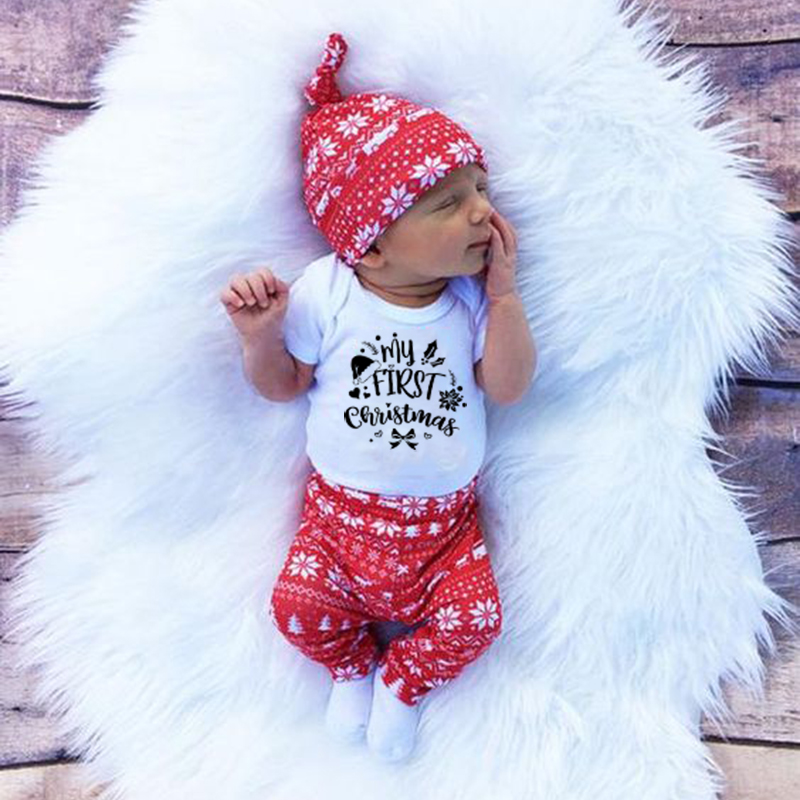My First Christmas Newborn Baby Boy Girl Cotton Rompers Outfits Infant Short Sleeve Funny Party Dress Toddler Fashion Jumpsuit