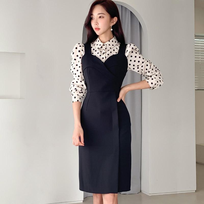 Spring Summer Vintage Elegant Women Two Piece Set Dot Full Sleeve Shirt Tops And Dress 2 Piece Set Women