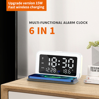 USLION-reloj despertador 6 en 1, cargador inalámbrico con termómetro Digital, lámpara LED de escritorio para dormitorio, Cargador rápido para teléfono móvil de 15W