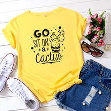 Go sit on a cactus printed casual ladies 100% cotton short sleeve women aesthetic clothes shirts for women kawaii y2k shirt