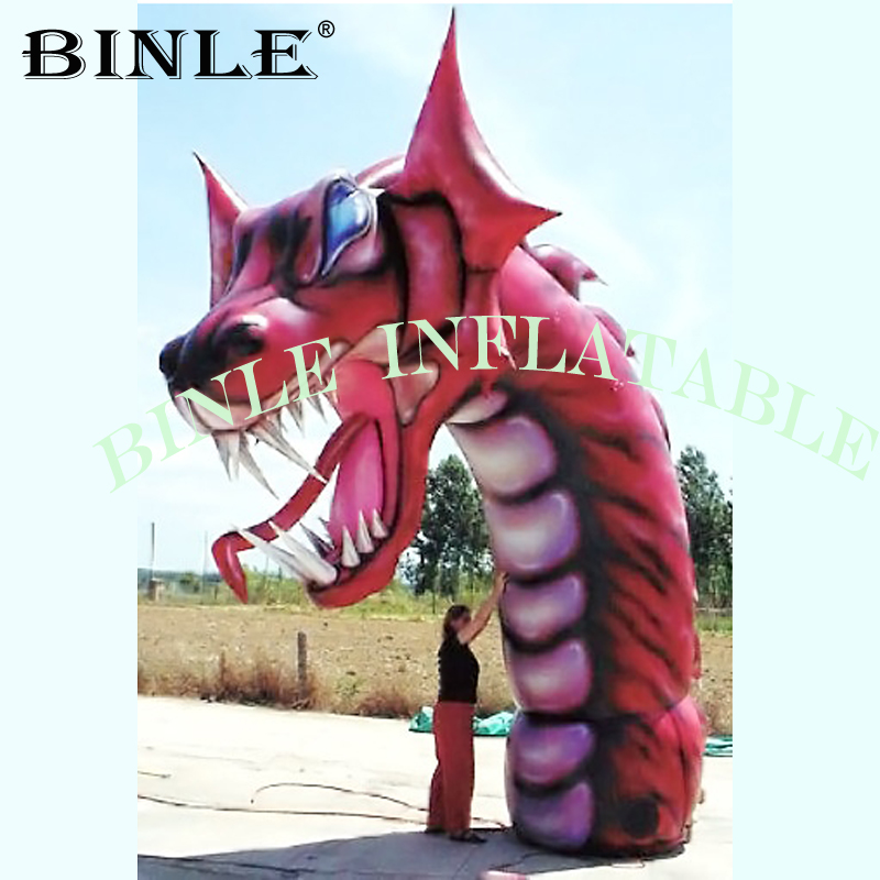 Park entrance red giant Inflatable Dragon Head inflatable animal for Event Party Stage Decoration