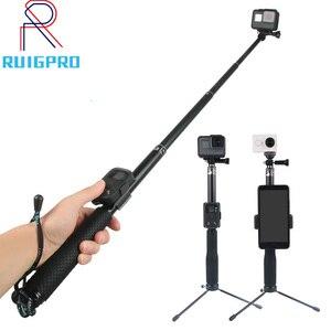 Image 1 - 36 Inch Aluminium Zelf Selfie Stick Handheld Uitschuifbare Pole Monopod Telefoon Houder Adapter Voor Go Pro Hero 9 8 7 6 5 4 3 + Xiaomi
