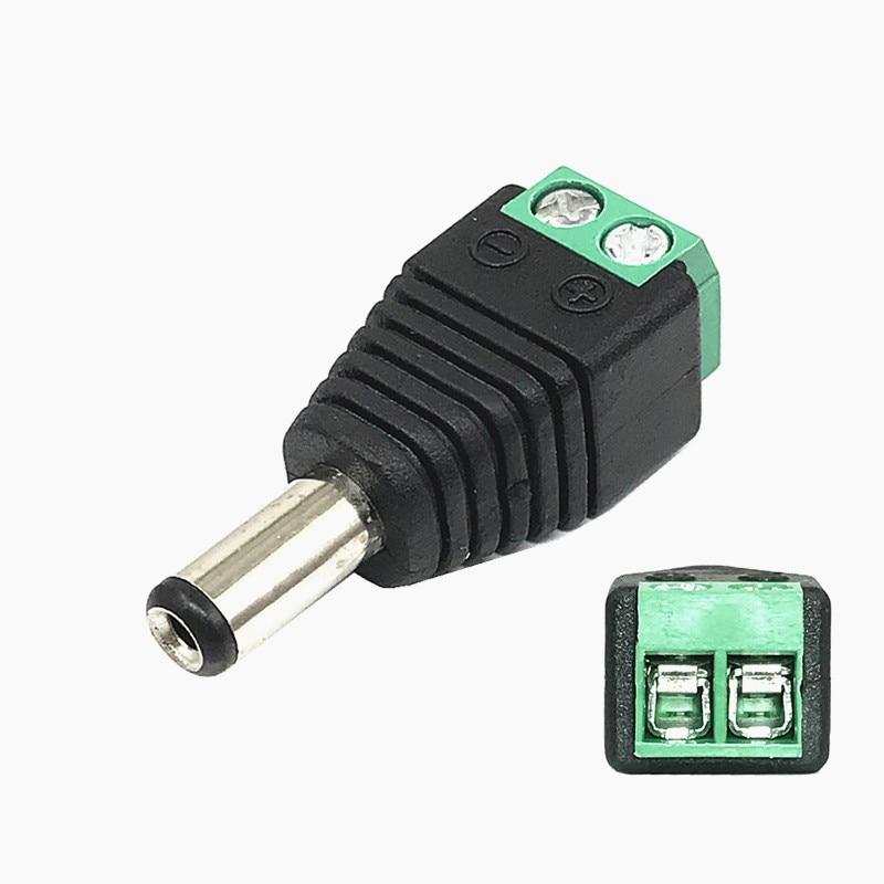 Штекерный/гнездовой разъем постоянного тока 2,1*5,5 мм, разъем питания, переходник, разъем кабеля для светодиодной ленты и камер видеонаблюдения Соединители      АлиЭкспресс
