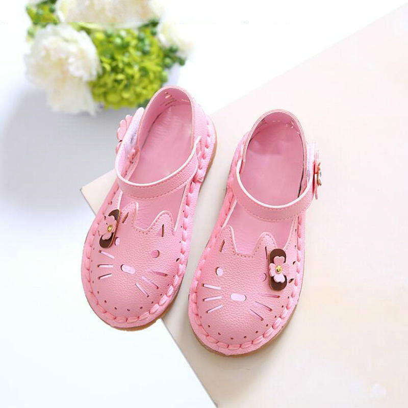 2019 New Fashion Children Summer Sandals Cute Cartoon Hollow Out Shoes Girls Princess Spring Bow Floral Breayhable Sneakers