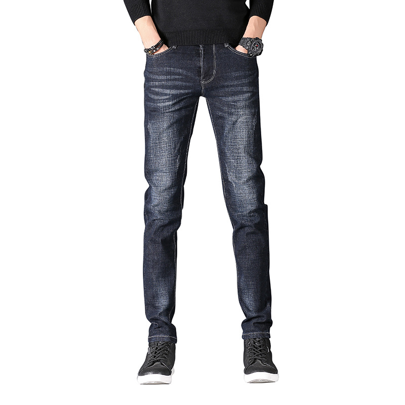 EVES Spring Cotton Jeans Men Fashion Gray Denim Pants Distressed Frayed Slim Fit Autumn Casual Trousers Stretch Man Pencil Jeans
