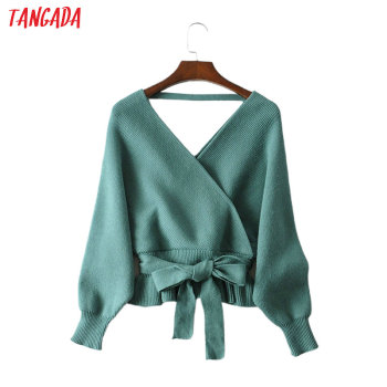 Tangada women sexy backless solid jumper sweater korean fashion long sleeve v neck pullovers female tops JA07 - discount item  30% OFF Sweaters