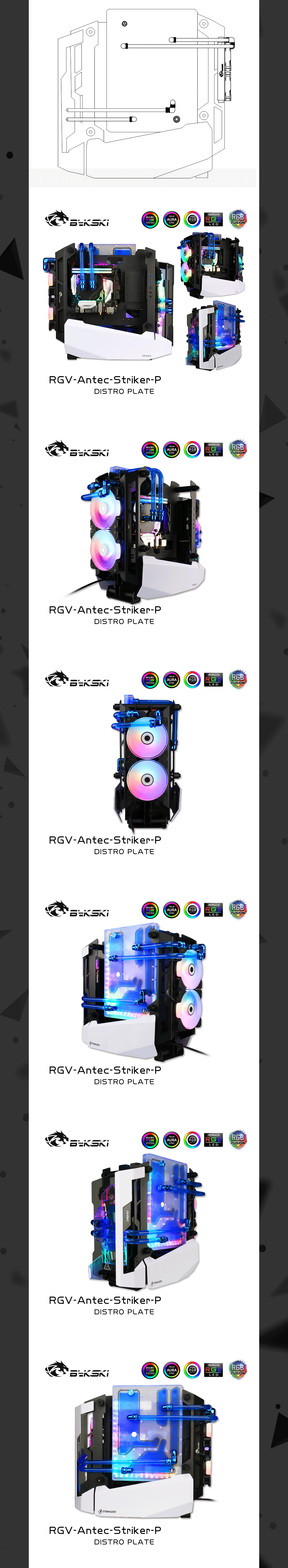 Bykski RGV-Antec-Striker-P Waterway Boards For Antec Striker Case For Intel CPU Water Block & Single GPU Building Bykski RGV-Antec-Striker Waterway Boards For Antec Striker Case For Intel CPU Water Block & Single GPU Building GPU Water Block For Antec Striker Case,bykski water cooling review,GPU Water Block Building