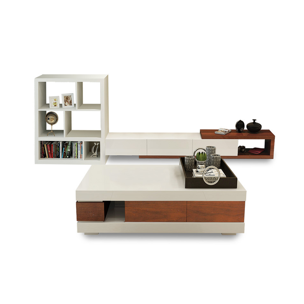 TV Stand Living Room Home Furniture TV Table Modern Style Fashionable TV Cabinet Paint White/black TV Unit + Coffee Centro Table