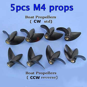 5PCs RC Boat M4 Shaft Propellers Copper Core 2-blades Positive/Reverse Nylon Plastics Diameter 35/39/42/45mm Props Accessories