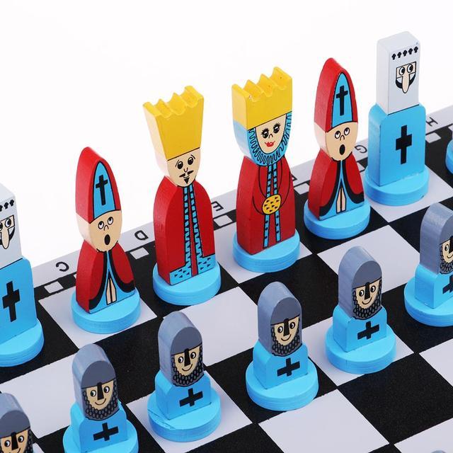 Jeu d'échecs en bois pour enfants enfants style fantaisie, bleu 4