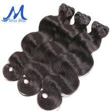 Missblue raw indiano virgem pacotes de cabelo onda corpo grau 10a indiano cabelo humano tecer pacotes extensão 1 3 4 p/lote extensão do cabelo