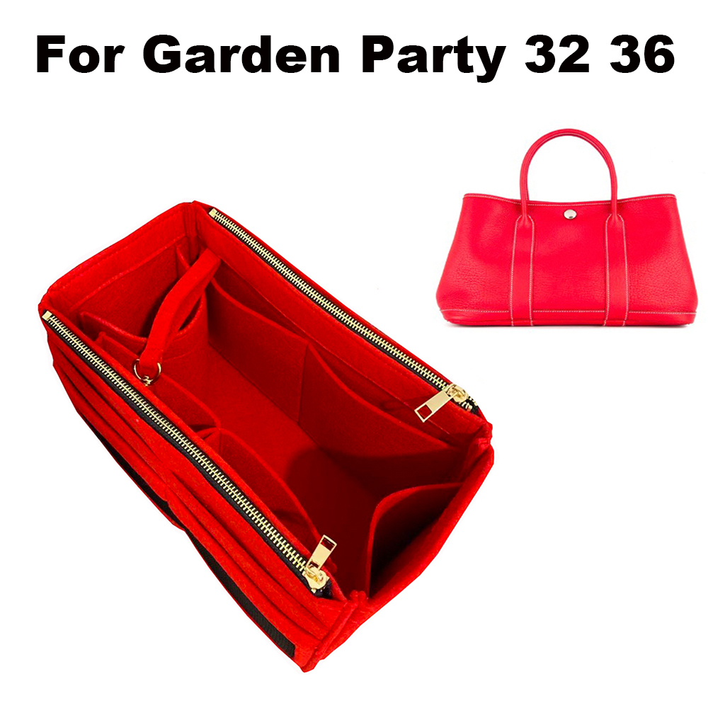 For Garden Party 32 36 Premium Felt Cloth Insert Bag Organizer Makeup Handbag Travel Inner Purse Baby Cosmetic Bag - D