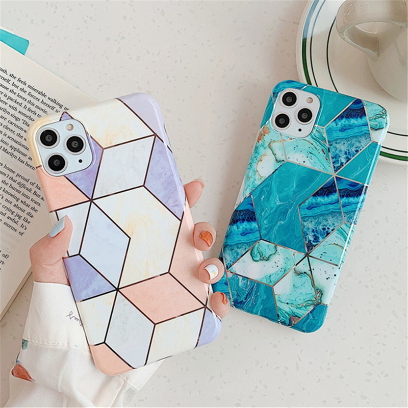 Moskado Geometric Marble Phone Cases For iPhone 11 Pro Max X XR XS Max 6 6S 7 8 Plus 11 Soft IMD Electroplated Back Cover Coque
