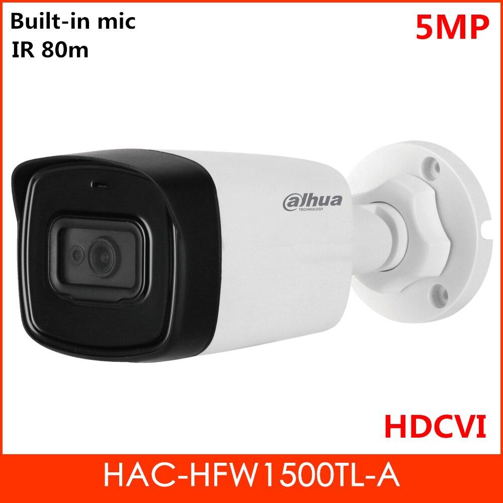 """Dahua 5MP HDCVI Camera 1/2.7"""" CMOS 2pcs IR LEDs Smart IR 80 meters Built-in MIC Outdoor camera Aluminium Case Security camera"""
