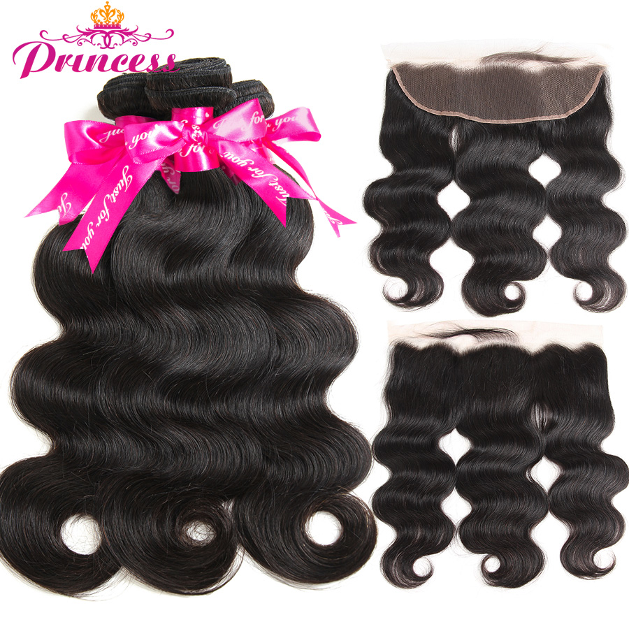 Hair Bundles Frontal-Closure Body-Wave Beautiful Princess Brazilian 13x4 Hd with Remy