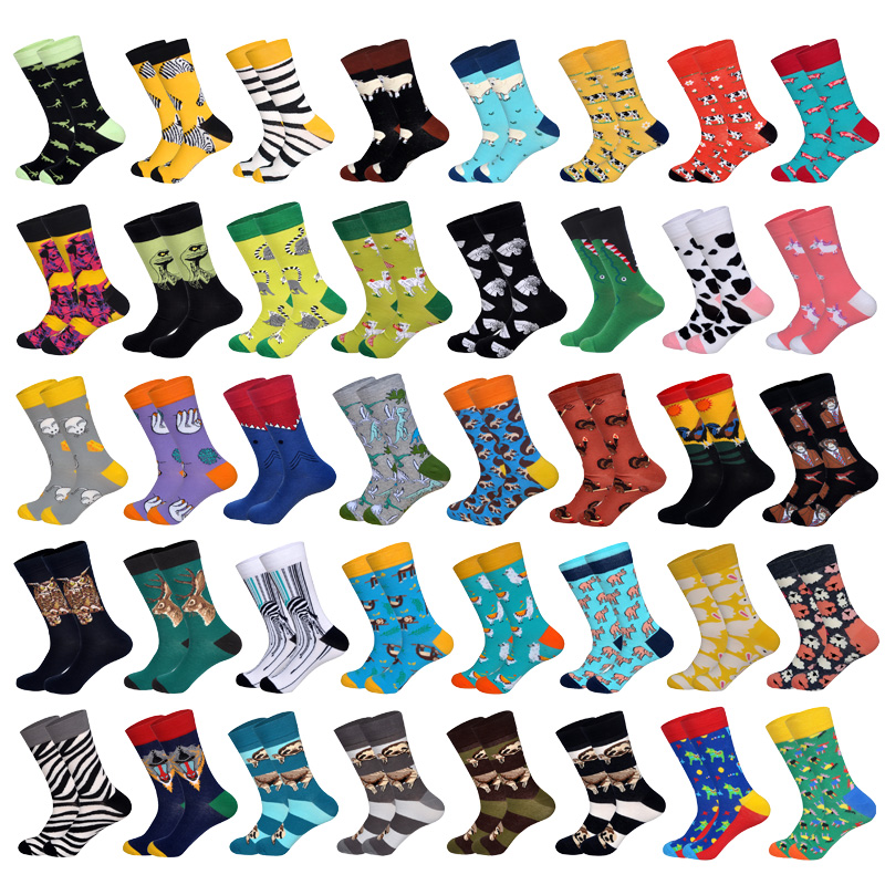 LIONZONE Men Cotton Socks Animals Series Sloth Koala Elephant Cow Rabbit Zebra Stripe Men&Women Unisex Happy Socks