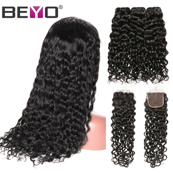 Brazilian Water Wave Human Hair Wigs 300% Density Free Customized Wig By Remy Hair Bundles With Closure Beyo 4X4 Closure Wig