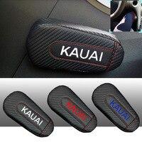 Dla Hyundai Kauai 1pc Carbon włókno skórzane Auto nogi poduszki nakolannik drzwi samochodu Arm Pad akcesoria samochodowe pojazdu ochronne w Wsporniki fotela od Samochody i motocykle na