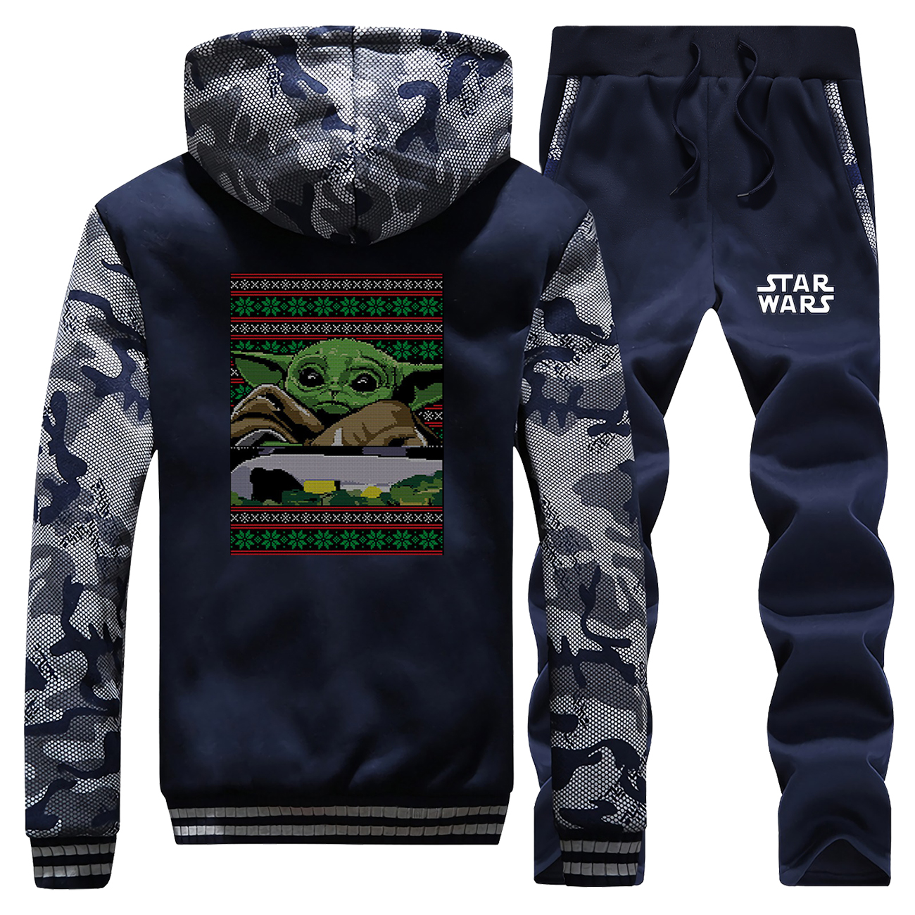 Baby Yoda Winter Men Camo Pants Sets Thick Warm Fleece Jacket Star Wars Print Cartoon Hoodies Raglan Sleeve Jackets Thicken Coat