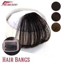 Moresoo אוויר קדמי פרינג שיער הרחבות חתיכה אחת מכונה רמי ישר שיער טבעי אביזרי ללא שיער מקדשים
