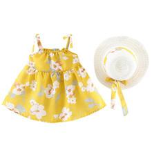 Noworodki sukienka dla dzieci niemowlę dziewczynek sukienka z kwiatowym nadrukiem bez rękawów nowa letnia dziewczynka maluch sukienki typu Sling + czapka kapelusz stroje # LR5 tanie tanio Drukuj REGULAR Na co dzień PATTERN Pasuje prawda na wymiar weź swój normalny rozmiar Casual Kolan -Line Children s dress