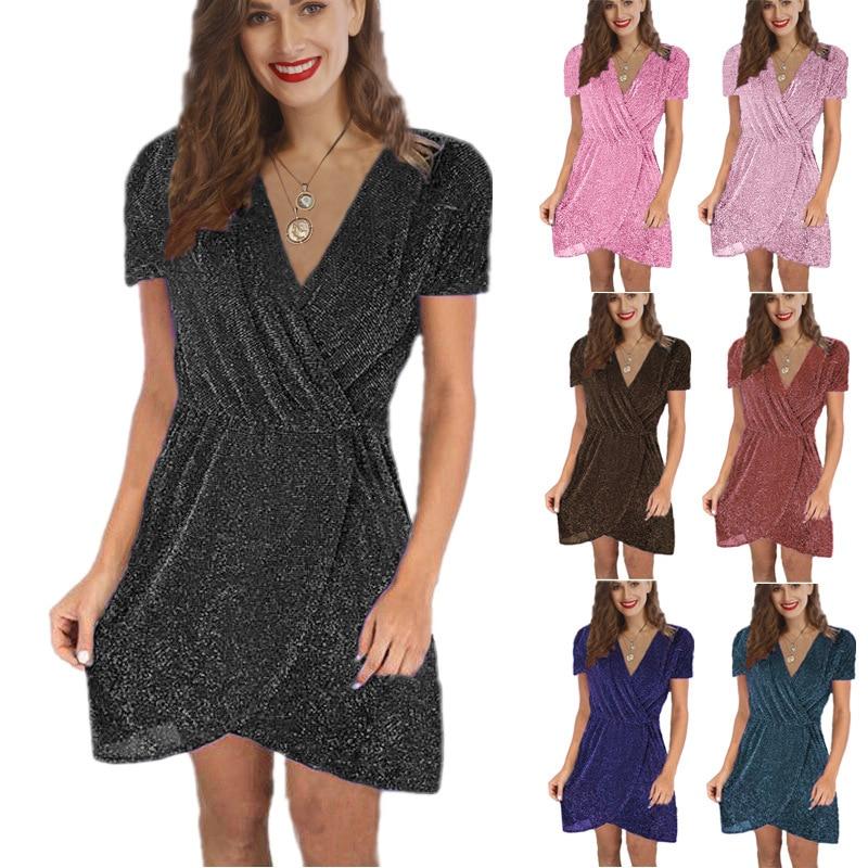 Madam Clothing OWLPRINCESS 2020 New Women's V-neck Irregular Short Sleeve Dress Solid Color, Sexy Women's Dresses