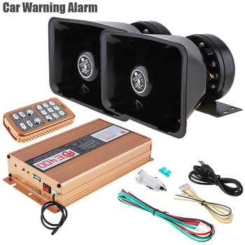 2pcs Police Siren Horn Speaker 400W 18 Tone Loud Car Warning Alarm Auto Horn 12V with MIC System and Wireless Remote Control