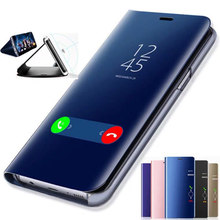 Akıllı ayna Flip Case Samsung Galaxy S8 S9 artı S10 S10e S7 kenar S6 not 9 8 J7 J5 2016 A6 A8 J4 J8 J6 2018 A5 2017 kapak