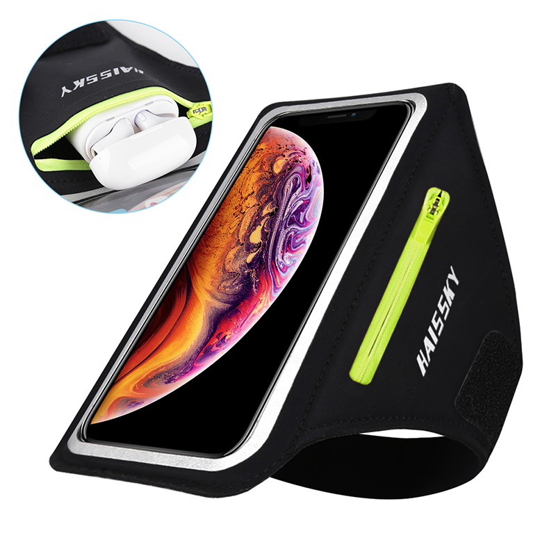 Non-slip Sports Armbands Car Key Earphone Zipper Bag For Airpods Pro IPhone Samsung Huawei Phone Case Running Bag Wrist Arm Band