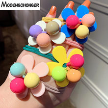 1PCS Hair Band Candy Color Flower Elastic Rope Girl Play Colorful Beaded Hairgrip Scrunchie Korean Style Accessories