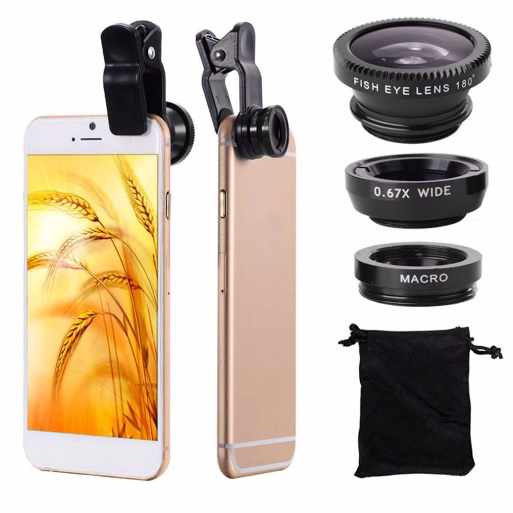 Phone Lens 360 Degree Rotate Shark Tail Shaped Clip Photo Camera Lens Kits 180 Degree Fish Lens 0.65X Wide Angle 10X Macro Lens