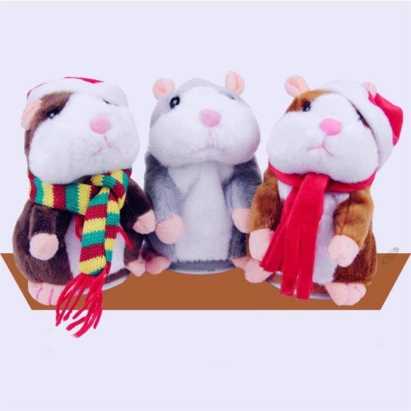 1pc Electric Plush Doll Walking Hamster Talking Hamster Nod Doll Plaything With Red Scarf For Kids Friends Baby Toys 2020