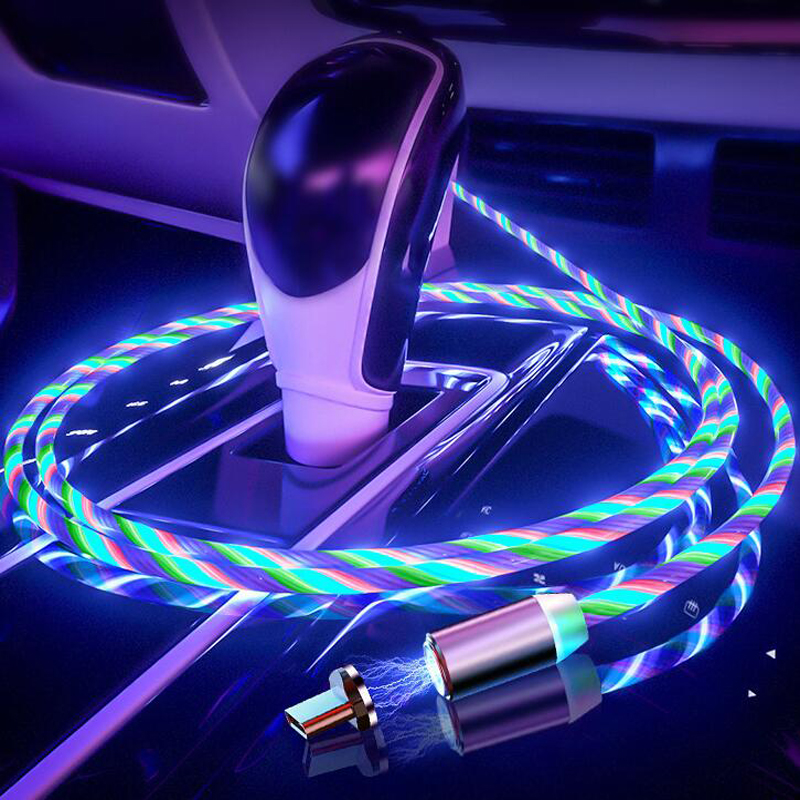 Car Phone Charging Flow Luminous <font><b>Lighting</b></font> Magnetic USB Cable For KIA Rio Ceed Sportage <font><b>Mazda</b></font> 3 <font><b>6</b></font> Cx-5 Peugeot 206 307 308 207 image