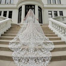 Длинная свадебная фата с аппликацией,, Длинная свадебная фата, Vestido De Noiva, Длинная свадебная фата V140