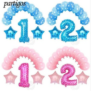 13pcs Pink Blue Number 2 Foil Air Balloons Set 2nd Birthday Globos For Baby Boy Girl Happy Birthday Party Decor supplies Kid Toy