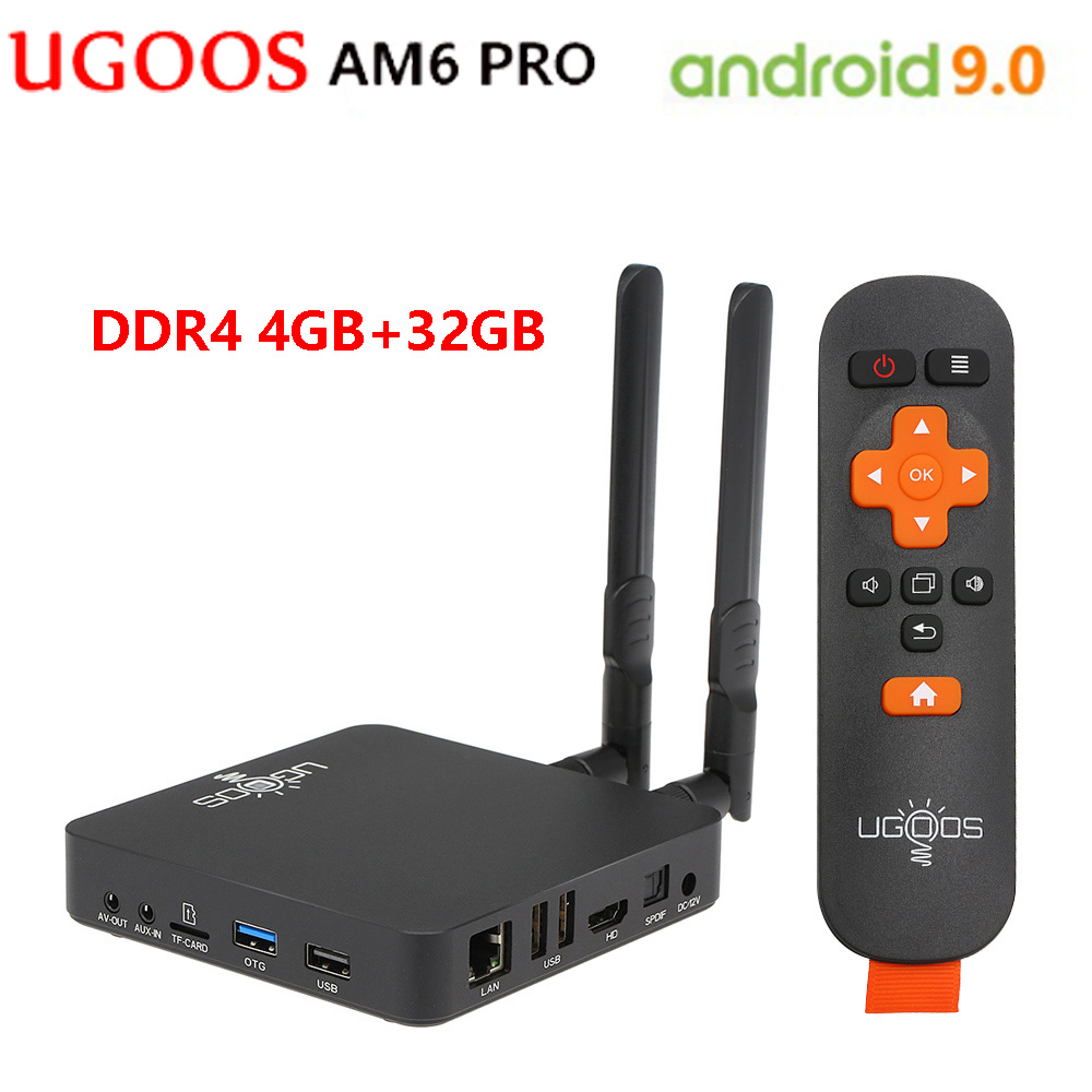 UGOOS AM6 Pro 4GB DDR4 32GB Android 9.0 Tv Box Amlogic S922X Quad-Core 2.4G 5G Wifi 1000Mbps BT5.0 Set Top Box 4K Media Player
