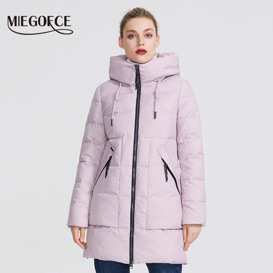 MIEGOFCE 2019 Winter Frauen Sammlung frauen Warme Jacke Mit Echten Bio Winter Jacken Winddicht Stand Up Kragen mit Haube-in Parkas aus Damenbekleidung bei  Gruppe 2