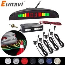 Eunavi 1 סט אוטומטי Parktronic Led חניה חיישן ערכת תצוגת 4 חיישני עבור כל מכוניות הפוך סיוע גיבוי רדאר צג מערכת