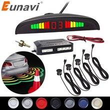Eunavi 1 مجموعة السيارات Parktronic Led مجموعة أجهزة استشعار وقوف السيارات عرض 4 أجهزة استشعار لجميع السيارات عكس مساعدة الرادار الاحتياطي رصد النظام