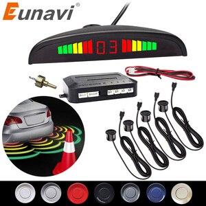 Image 1 - Eunavi 1 takım oto parktronik Led park sensörü kiti ekran 4 sensörler tüm arabalar için ters yardım yedekleme Radar monitör sistemi