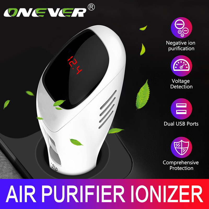 Onever 12-24V Air Purifier Fresh Air Anion Car Air Purifier Air Cleaner best for Car Home Office Gift With 5V3.1A USB Charger