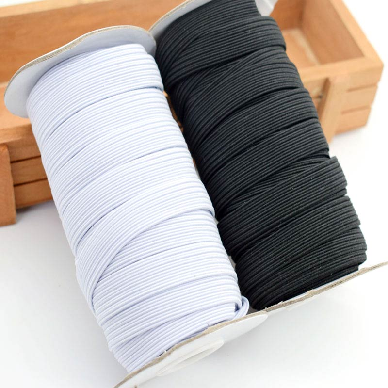 5 M Elastic Bands White/Black  6/8/10/12/15/20/30/35/40mm Polyester Elastic Bands For Clothes  Garment Masks Sewing Accessories