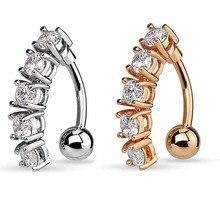5 Zircon Crystals Belly Piercing Stainless Steel Upside Down Navel Ring New Design Body ombligo Jewelry