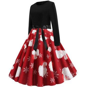 Women Christmas Long Sleeve Print Elegant Vintage Knee-length Party Dress Robe 2019 Autumn Winter Casual Plus Size Xmas Dress 2