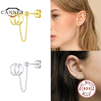 CANNER 1 pcs 925 Sterling Silver Chain Stud Earrings for Women Tassel Clip on Earrings Fashion Earrings Jewelry Dropshipping