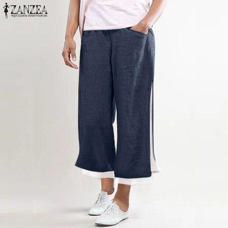 Fashion Summer   Wide     Leg     Pants   ZANZEA Women Elastic Waist Split Hem Trousers Casual Loose Harem   Pants   Femme Pantalon Robe Kaftan