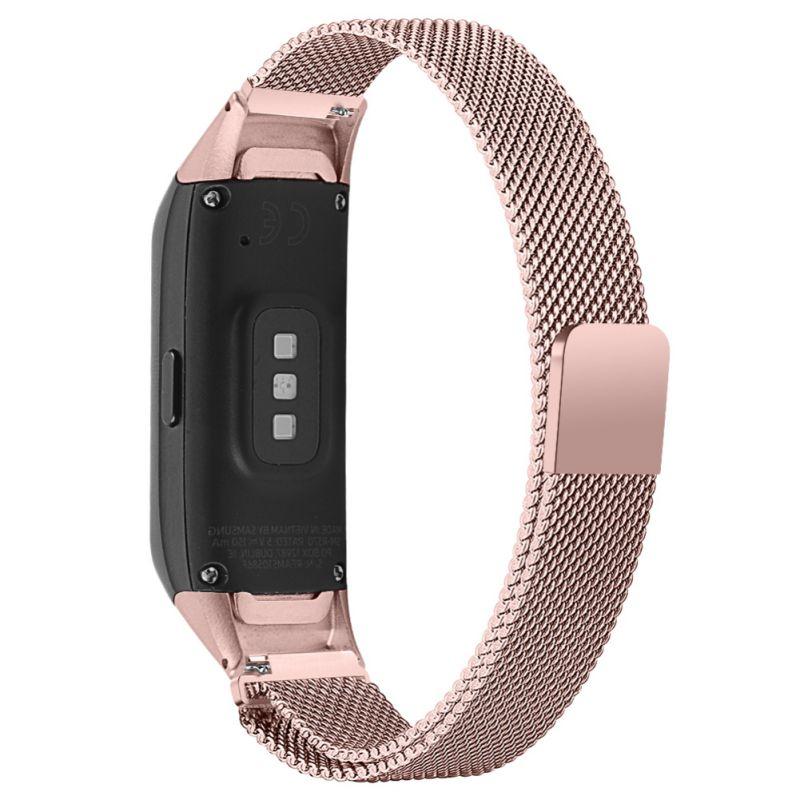 Banda de reloj Compatible para Samsung Galaxy Fit SM-R370 magnética de acero inoxidable correa de malla pulsera banda de repuesto Pulsera para mi Band 4 3 correa de muñeca de Metal sin tornillos de acero inoxidable para Xiaomi mi Band 4 3 pulseras de correa pulseira mi banda 4 3